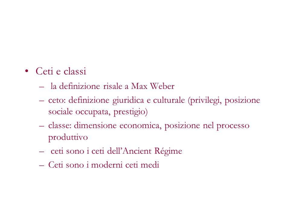 Ceti e classi la definizione risale a Max Weber