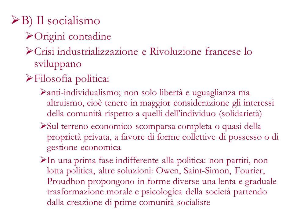 B) Il socialismo Origini contadine