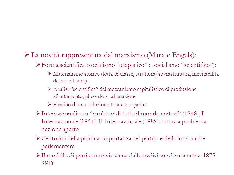 La novità rappresentata dal marxismo (Marx e Engels):