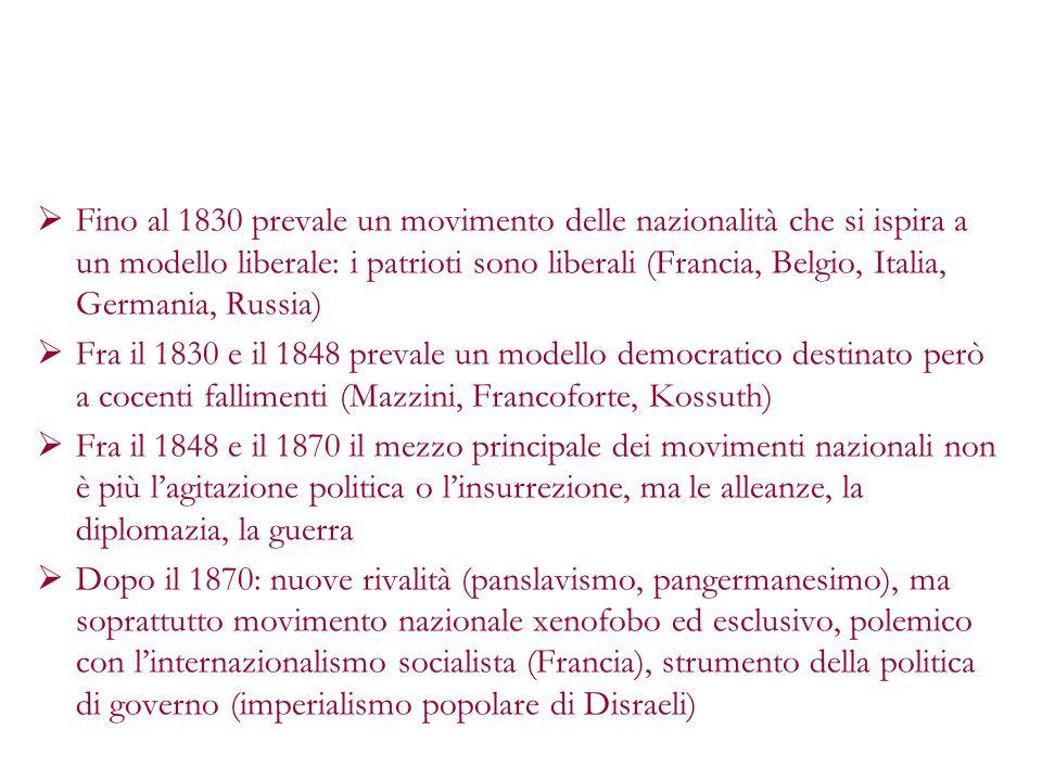 Fino al 1830 prevale un movimento delle nazionalità che si ispira a un modello liberale: i patrioti sono liberali (Francia, Belgio, Italia, Germania, Russia)