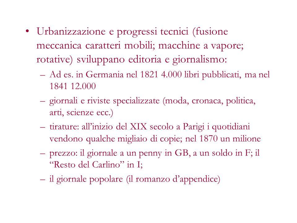 Urbanizzazione e progressi tecnici (fusione meccanica caratteri mobili; macchine a vapore; rotative) sviluppano editoria e giornalismo: