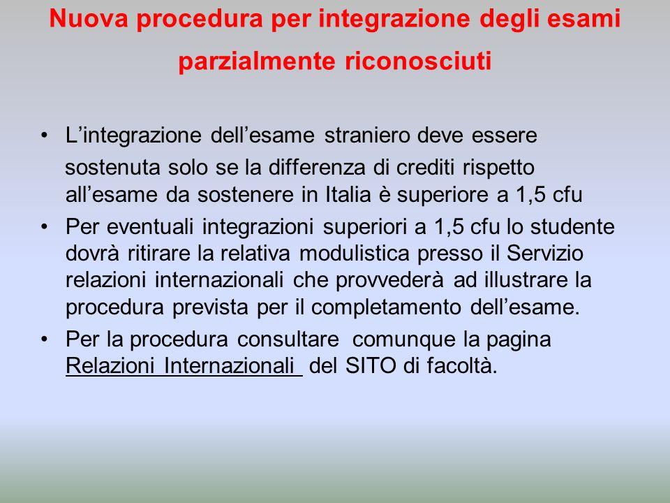 Nuova procedura per integrazione degli esami parzialmente riconosciuti