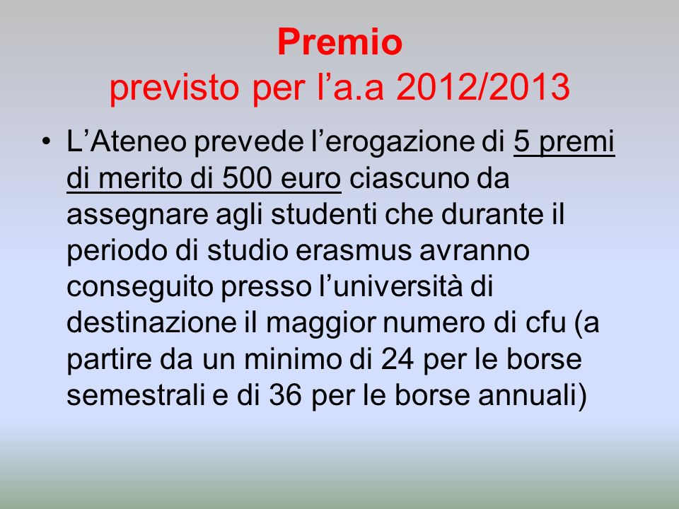 Premio previsto per l'a.a 2012/2013
