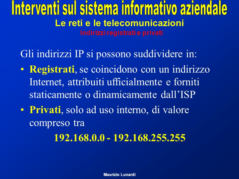 Le reti e le telecomunicazioni Indirizzi registrati e privati