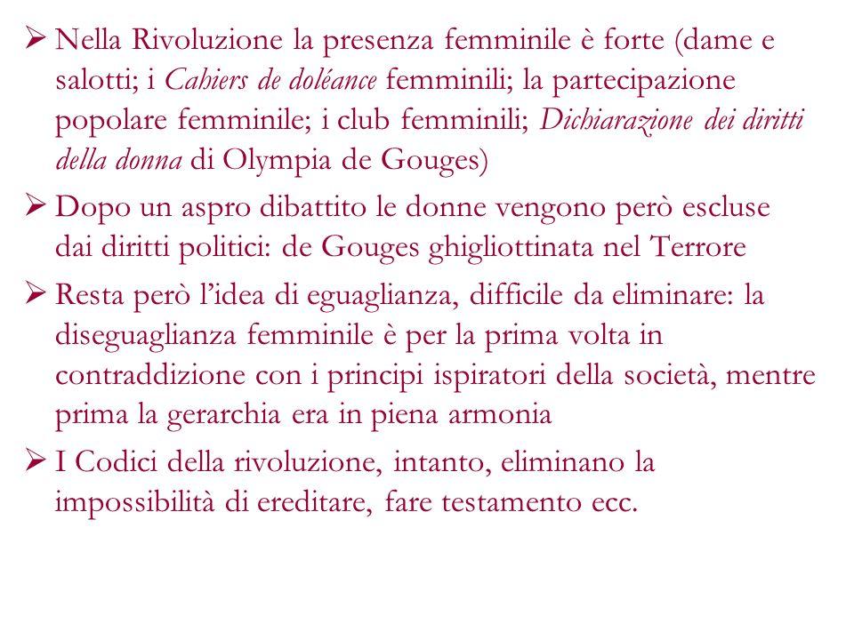Nella Rivoluzione la presenza femminile è forte (dame e salotti; i Cahiers de doléance femminili; la partecipazione popolare femminile; i club femminili; Dichiarazione dei diritti della donna di Olympia de Gouges)