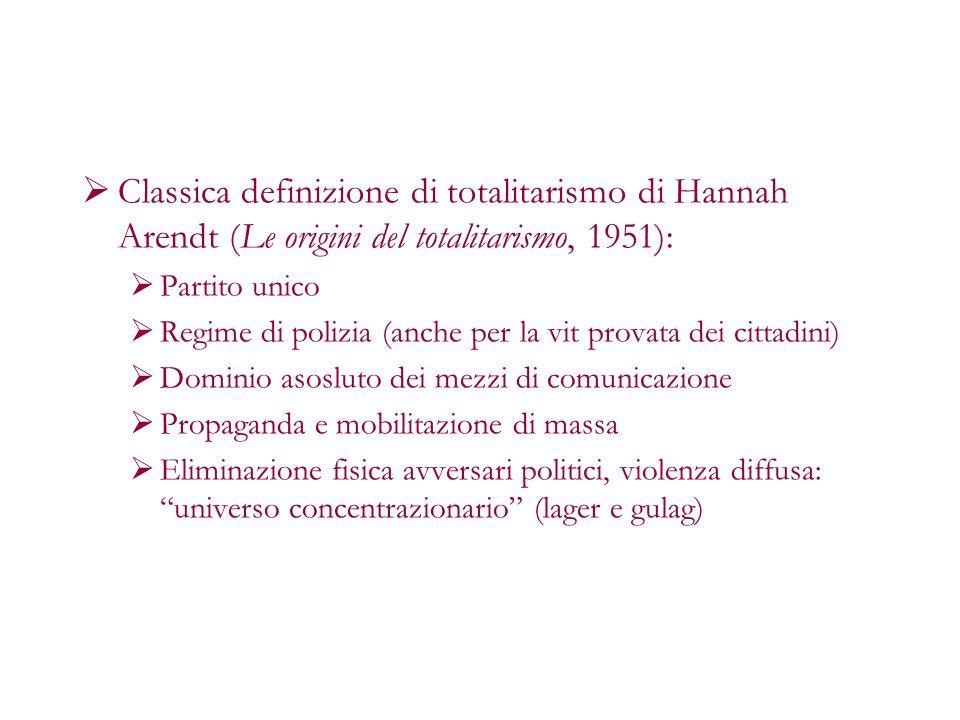Classica definizione di totalitarismo di Hannah Arendt (Le origini del totalitarismo, 1951):