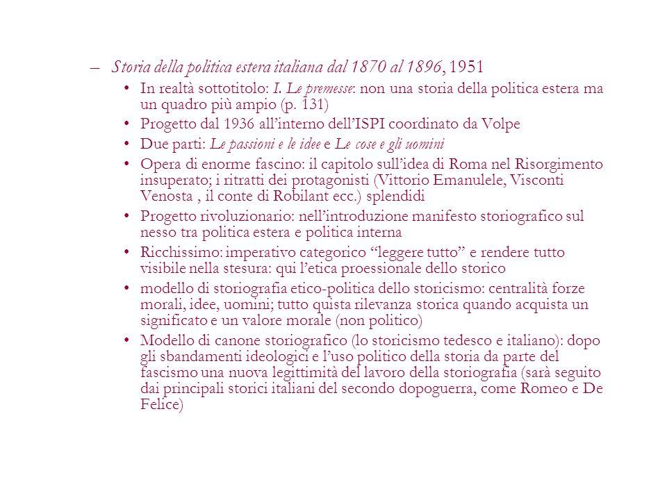 Storia della politica estera italiana dal 1870 al 1896, 1951