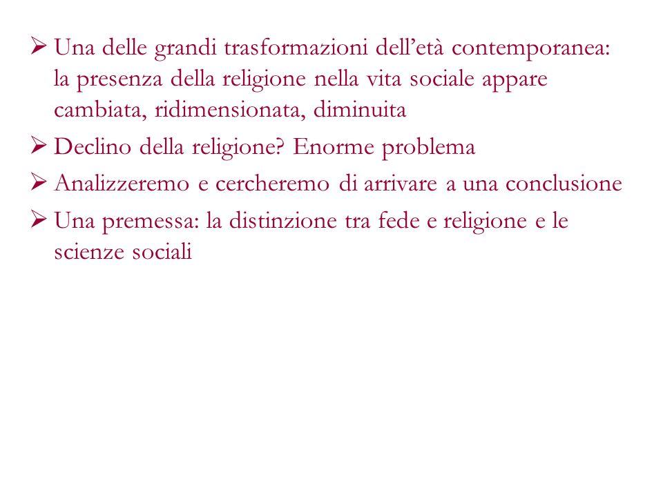 Una delle grandi trasformazioni dell'età contemporanea: la presenza della religione nella vita sociale appare cambiata, ridimensionata, diminuita