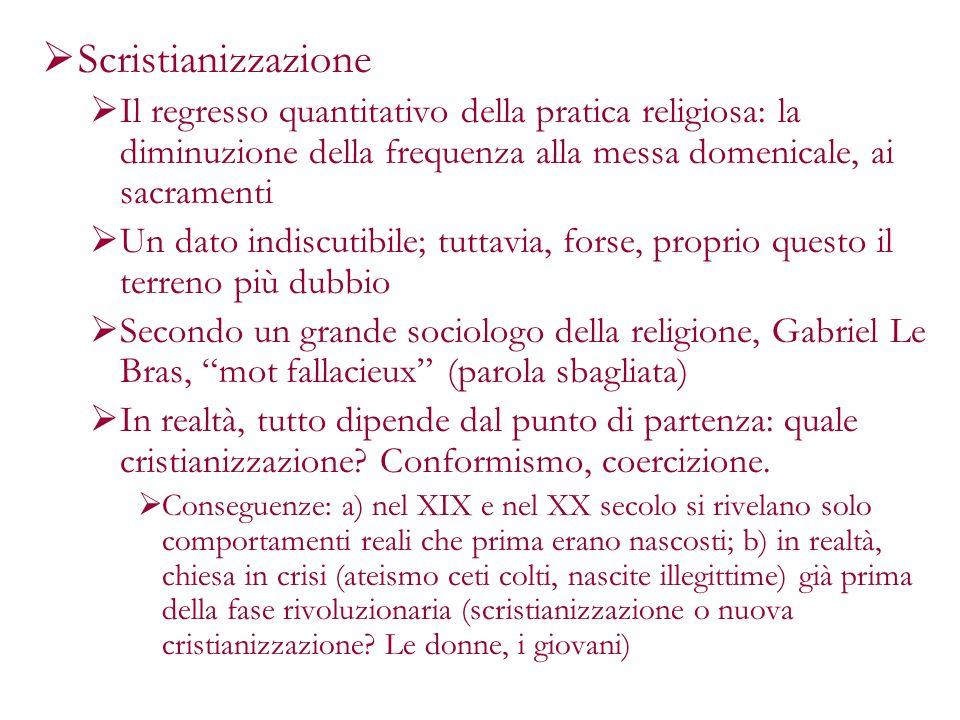 Scristianizzazione Il regresso quantitativo della pratica religiosa: la diminuzione della frequenza alla messa domenicale, ai sacramenti.