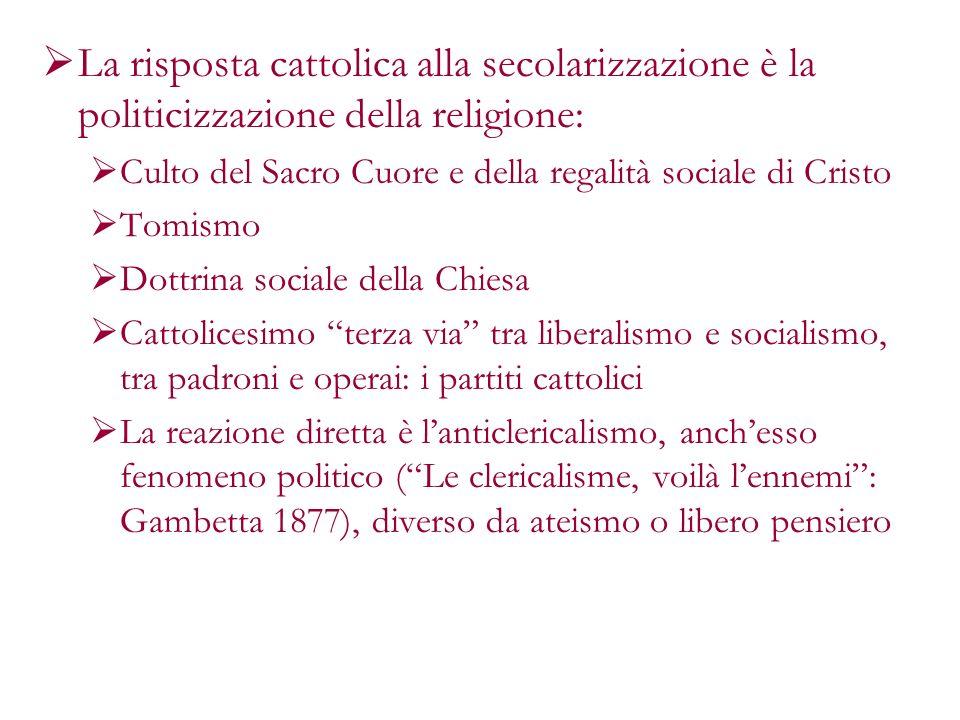 La risposta cattolica alla secolarizzazione è la politicizzazione della religione: