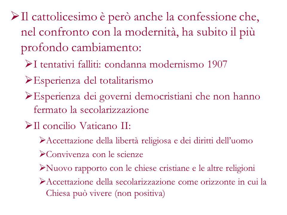 Il cattolicesimo è però anche la confessione che, nel confronto con la modernità, ha subito il più profondo cambiamento: