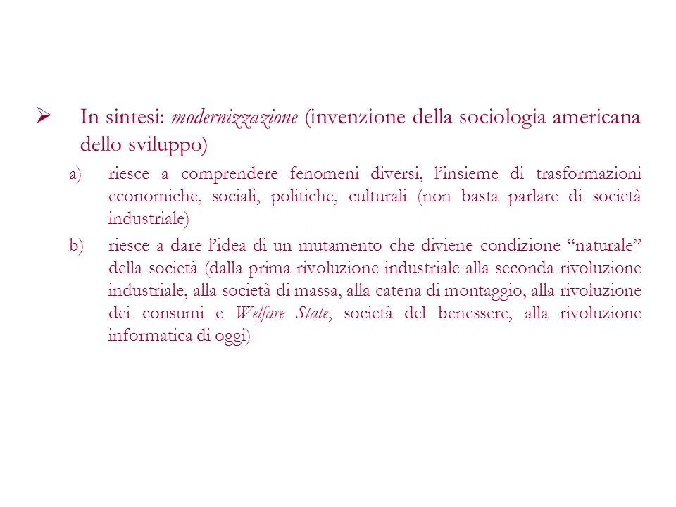 In sintesi: modernizzazione (invenzione della sociologia americana dello sviluppo)