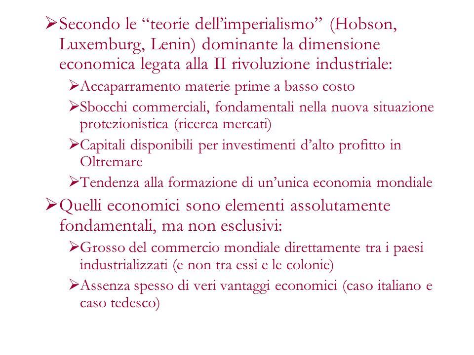 Secondo le teorie dell'imperialismo (Hobson, Luxemburg, Lenin) dominante la dimensione economica legata alla II rivoluzione industriale: