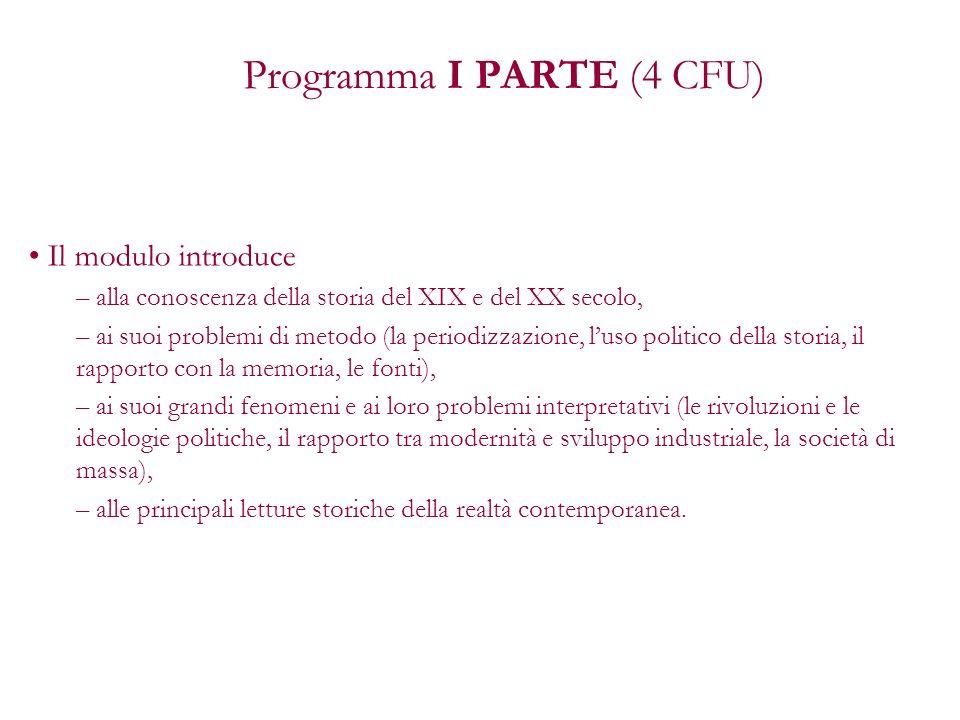 Programma I PARTE (4 CFU)