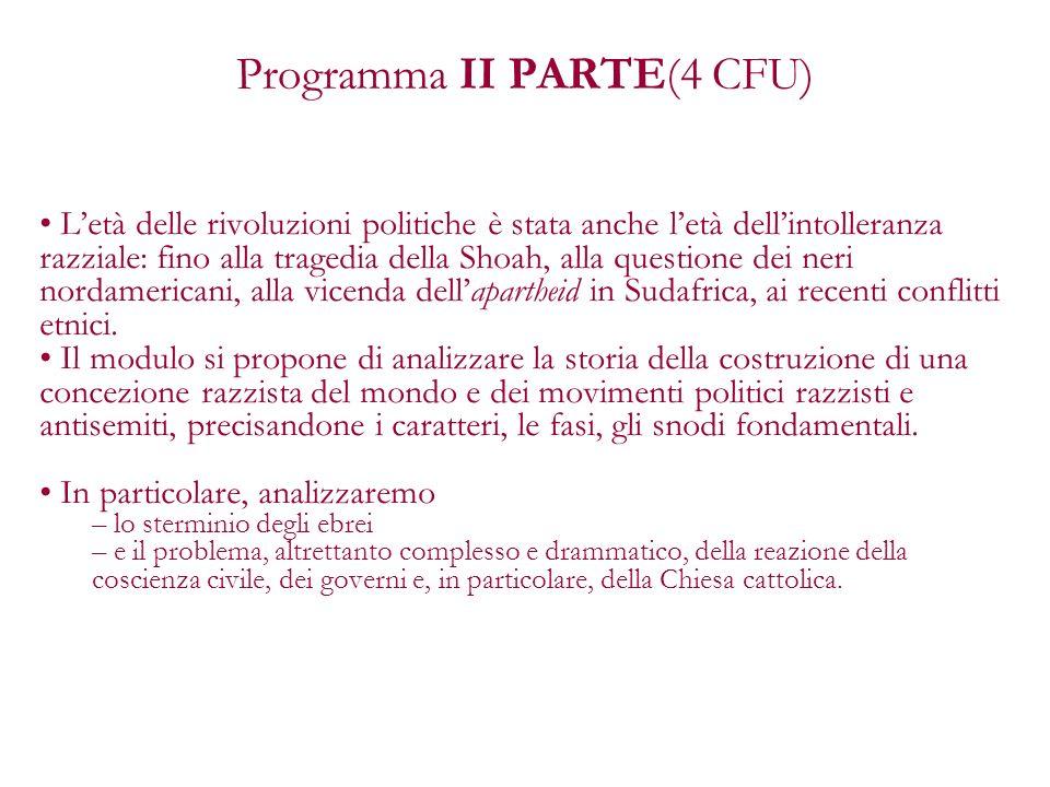 Programma II PARTE(4 CFU)