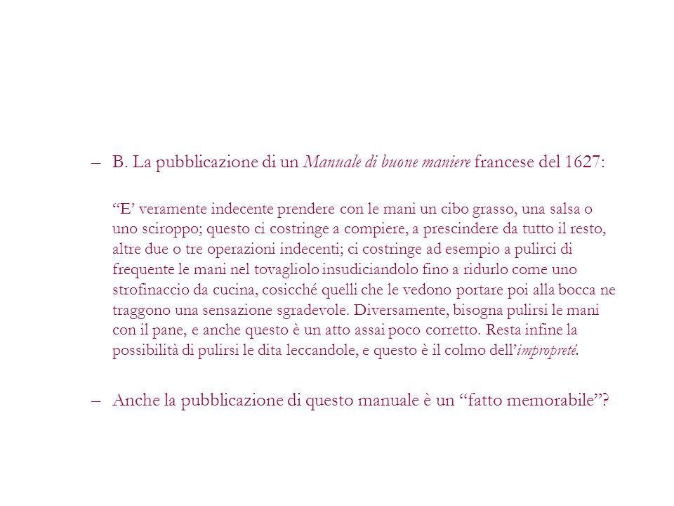 B. La pubblicazione di un Manuale di buone maniere francese del 1627: