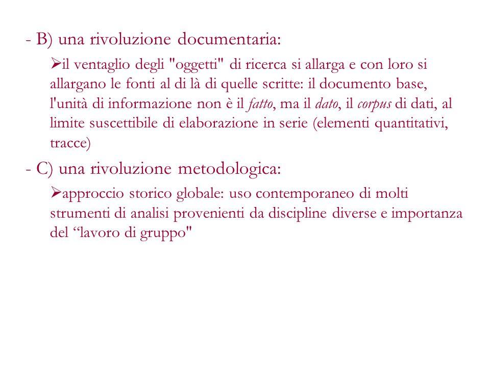 B) una rivoluzione documentaria: