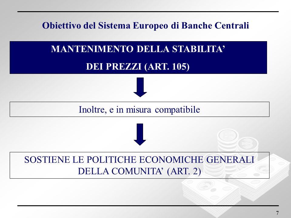 Obiettivo del Sistema Europeo di Banche Centrali