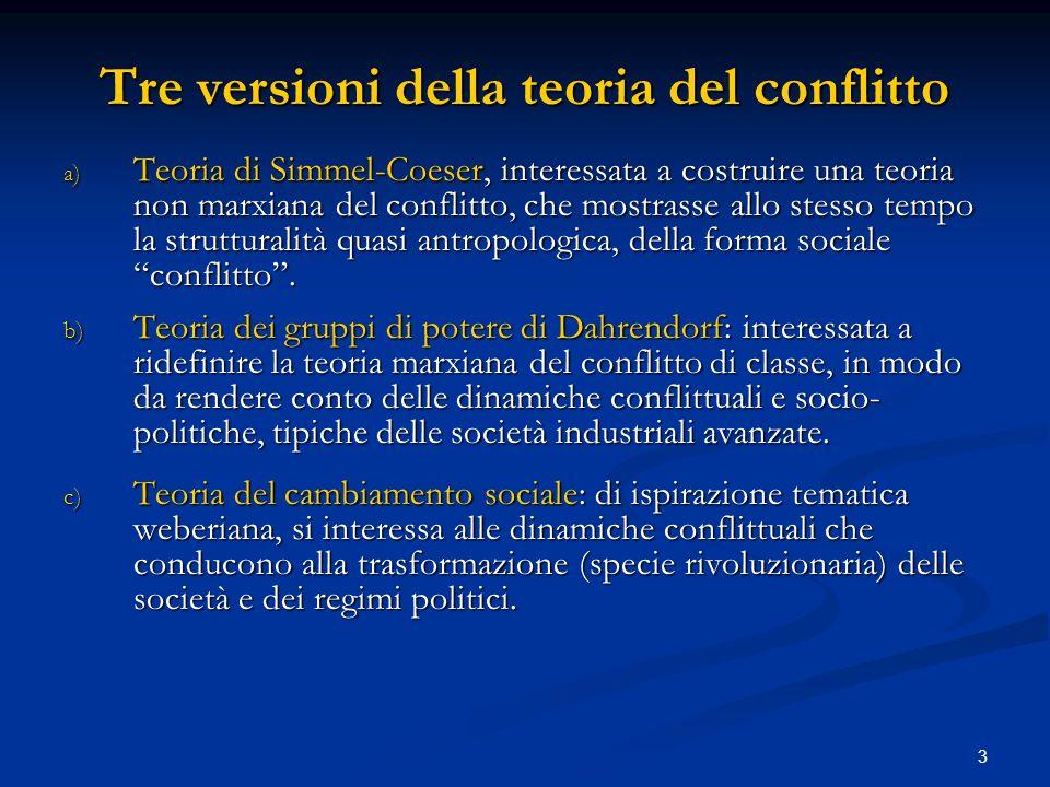 Tre versioni della teoria del conflitto