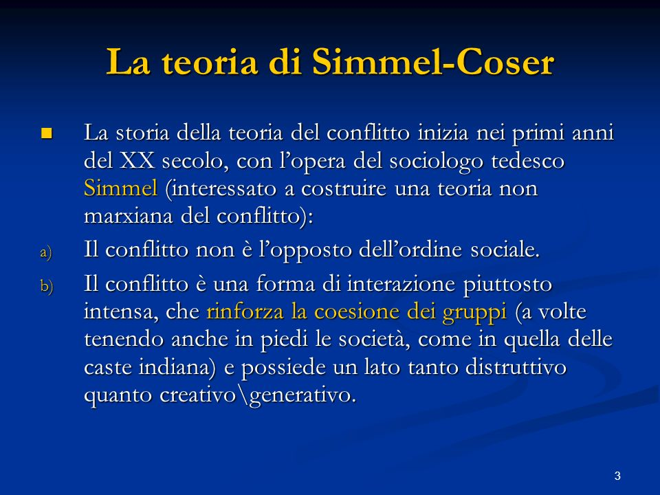 La teoria di Simmel-Coser