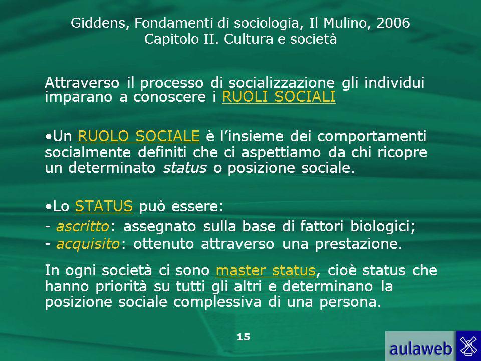 Attraverso il processo di socializzazione gli individui imparano a conoscere i RUOLI SOCIALI