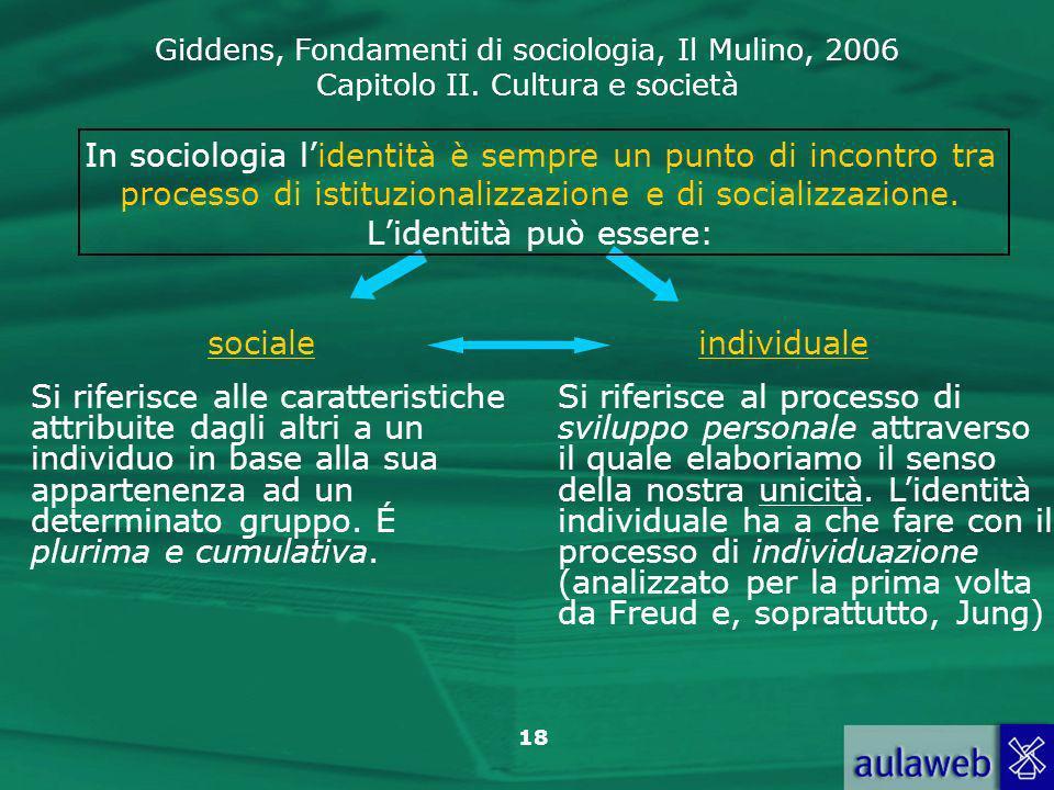 In sociologia l'identità è sempre un punto di incontro tra processo di istituzionalizzazione e di socializzazione. L'identità può essere: