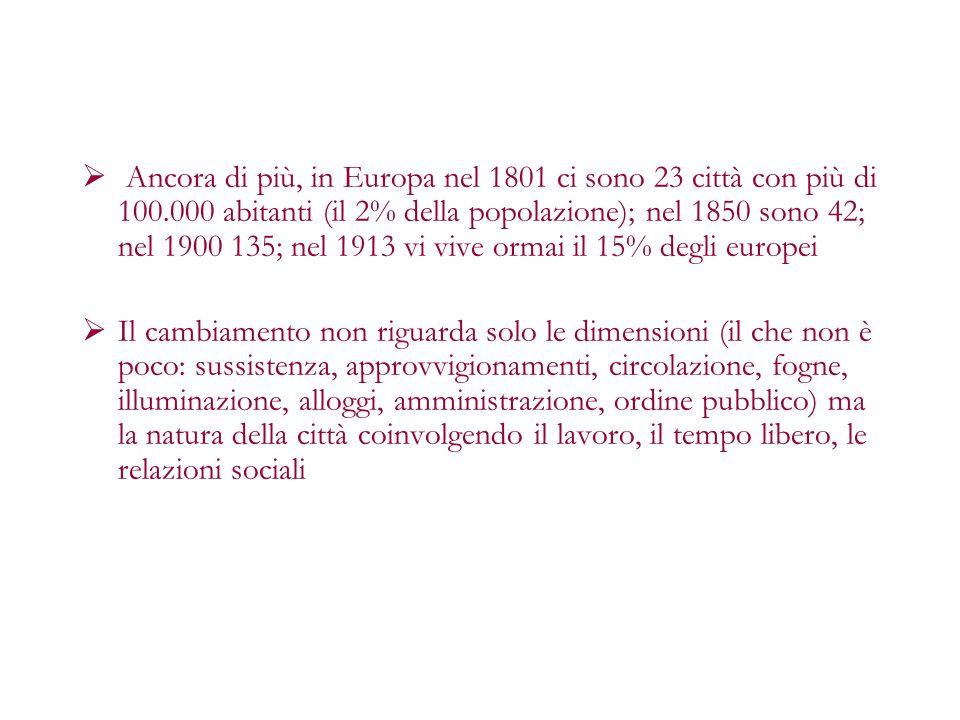 Ancora di più, in Europa nel 1801 ci sono 23 città con più di 100