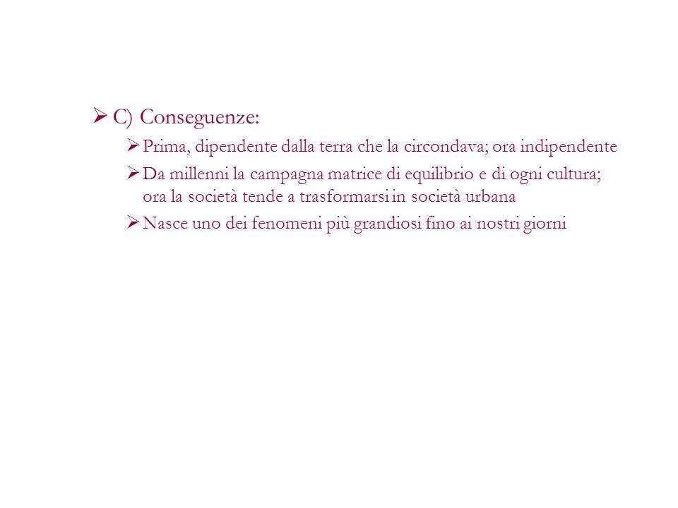 C) Conseguenze:Prima, dipendente dalla terra che la circondava; ora indipendente.