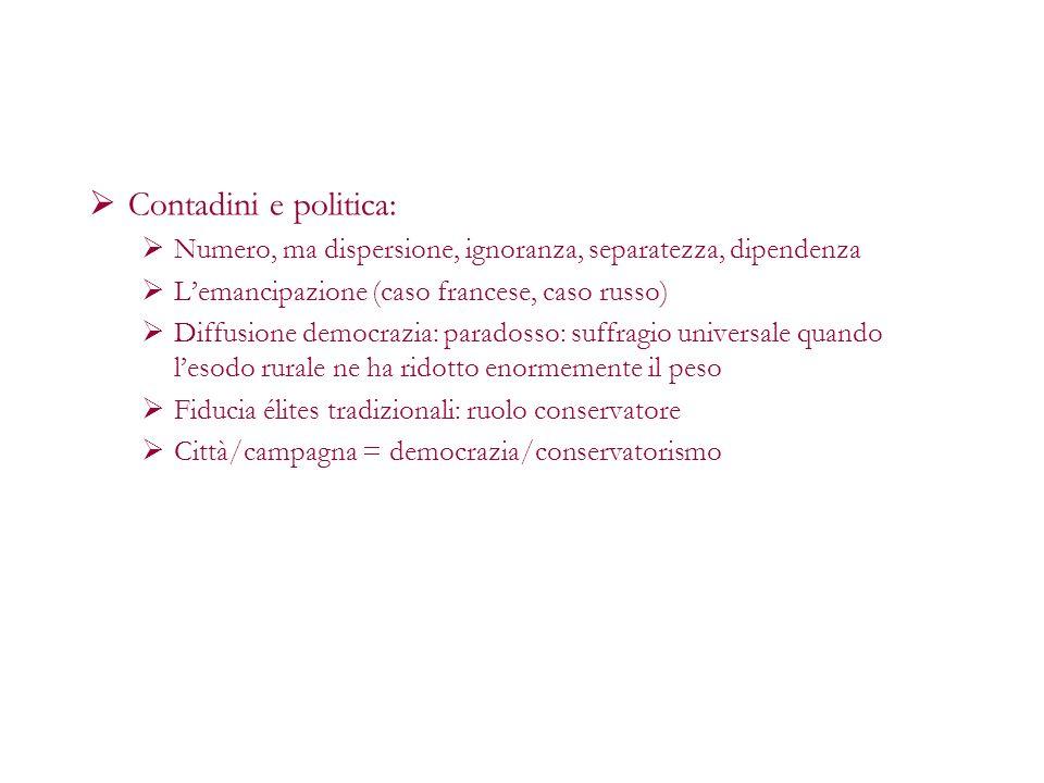 Contadini e politica:Numero, ma dispersione, ignoranza, separatezza, dipendenza. L'emancipazione (caso francese, caso russo)