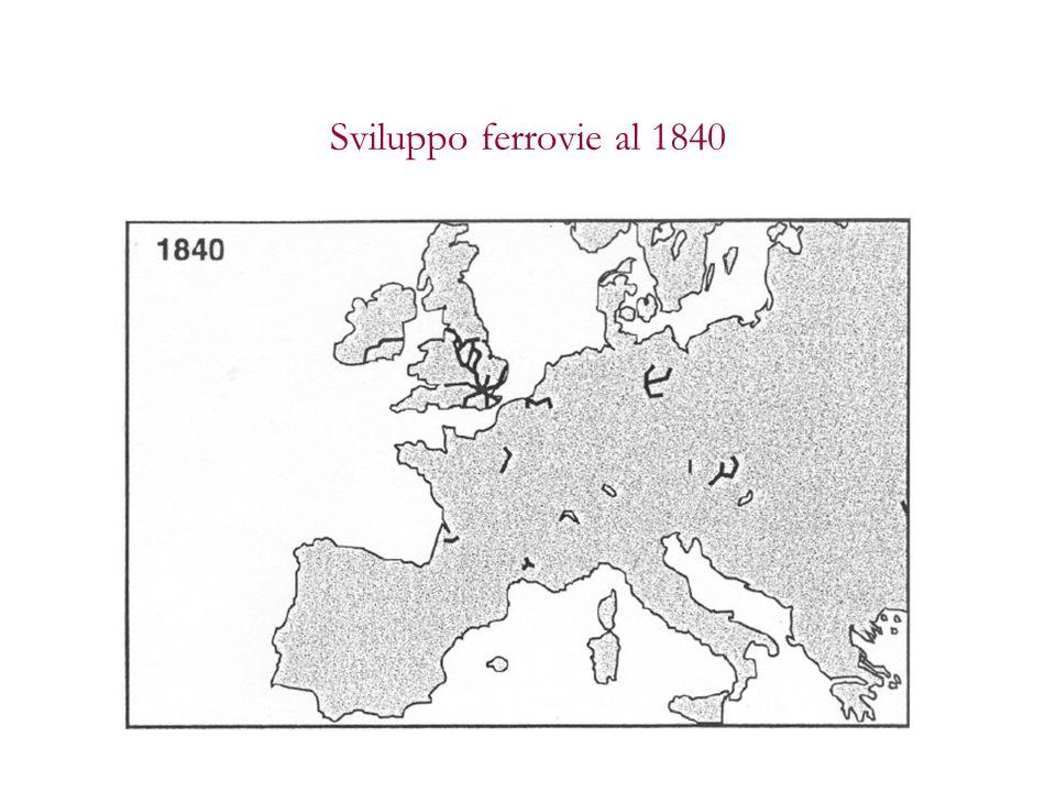 Sviluppo ferrovie al 1840
