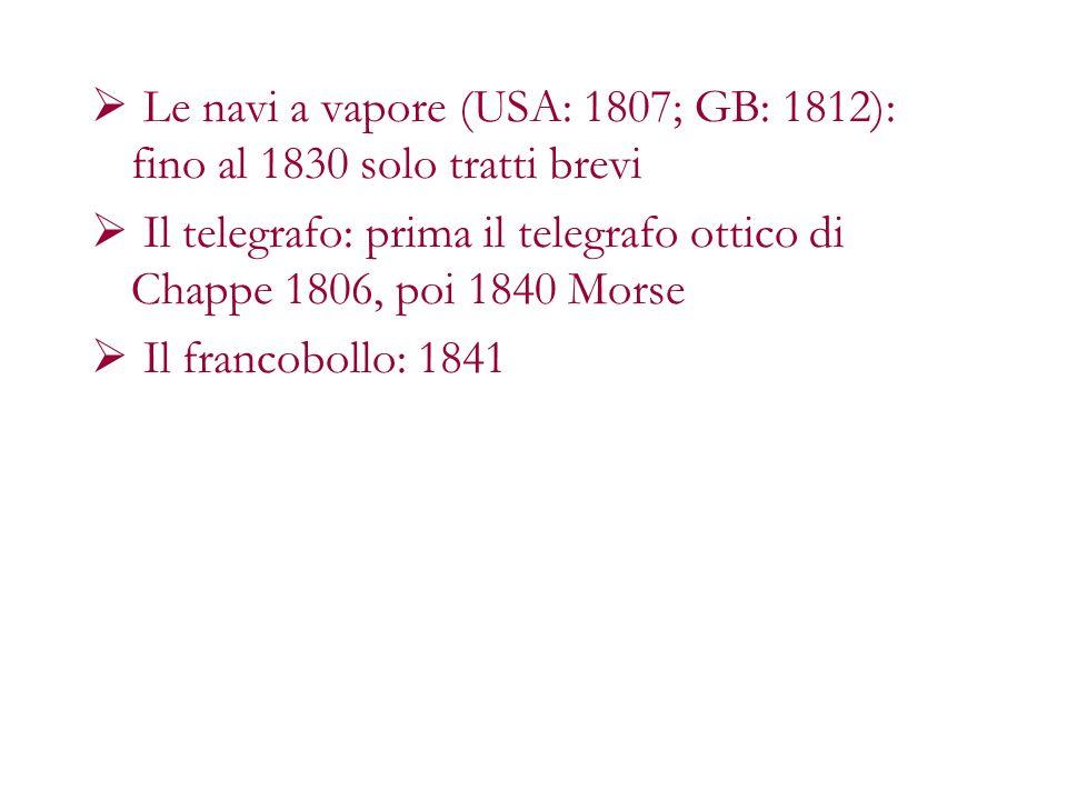 Le navi a vapore (USA: 1807; GB: 1812): fino al 1830 solo tratti brevi