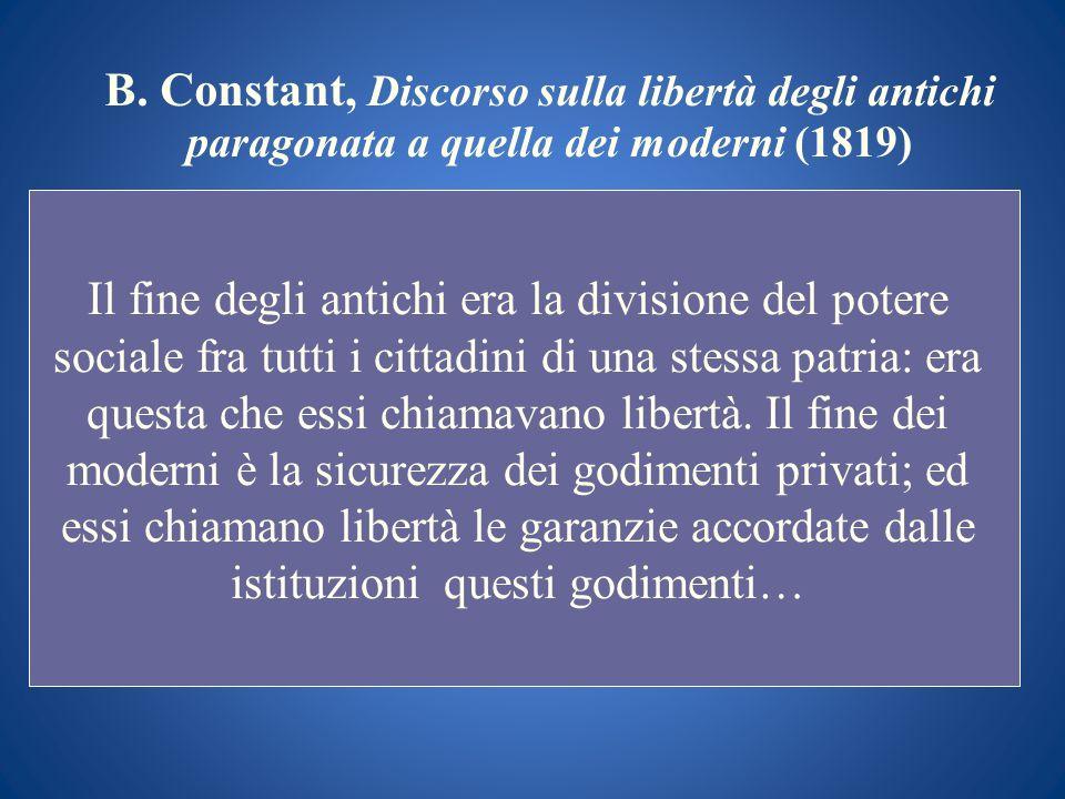 B. Constant, Discorso sulla libertà degli antichi paragonata a quella dei moderni (1819)