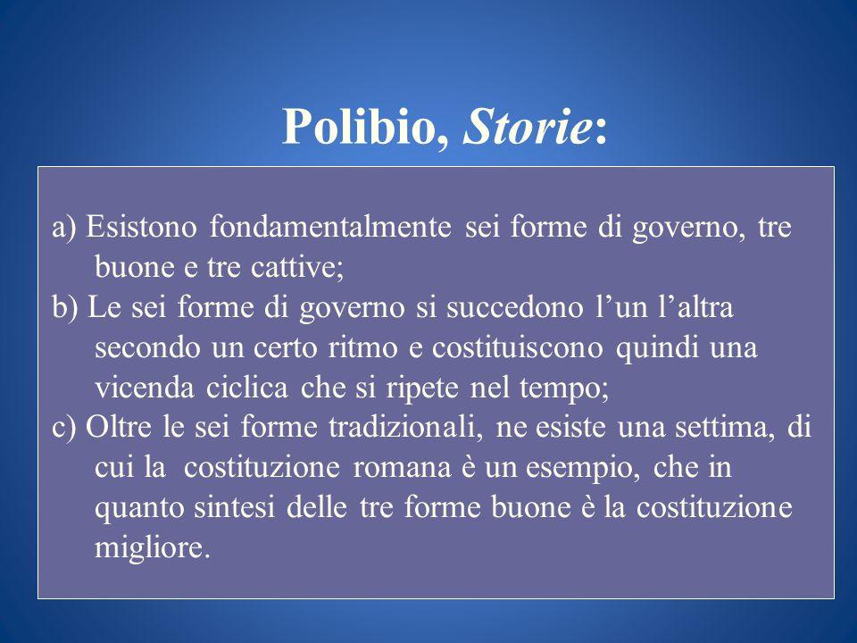 Polibio, Storie:a) Esistono fondamentalmente sei forme di governo, tre buone e tre cattive;