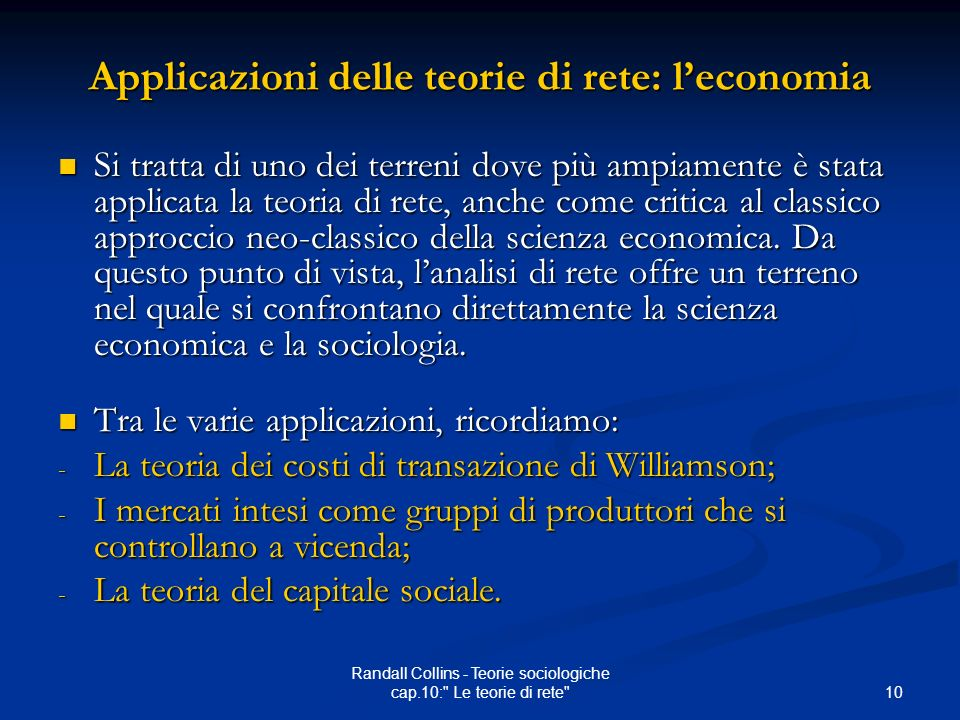 Applicazioni delle teorie di rete: l'economia