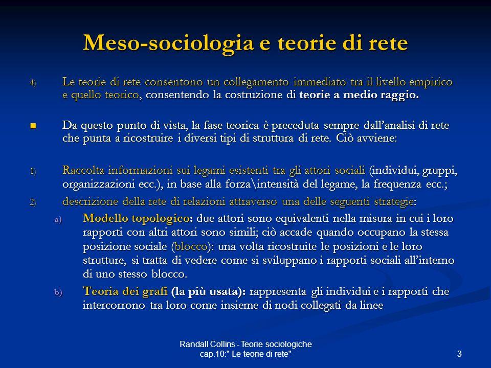 Meso-sociologia e teorie di rete