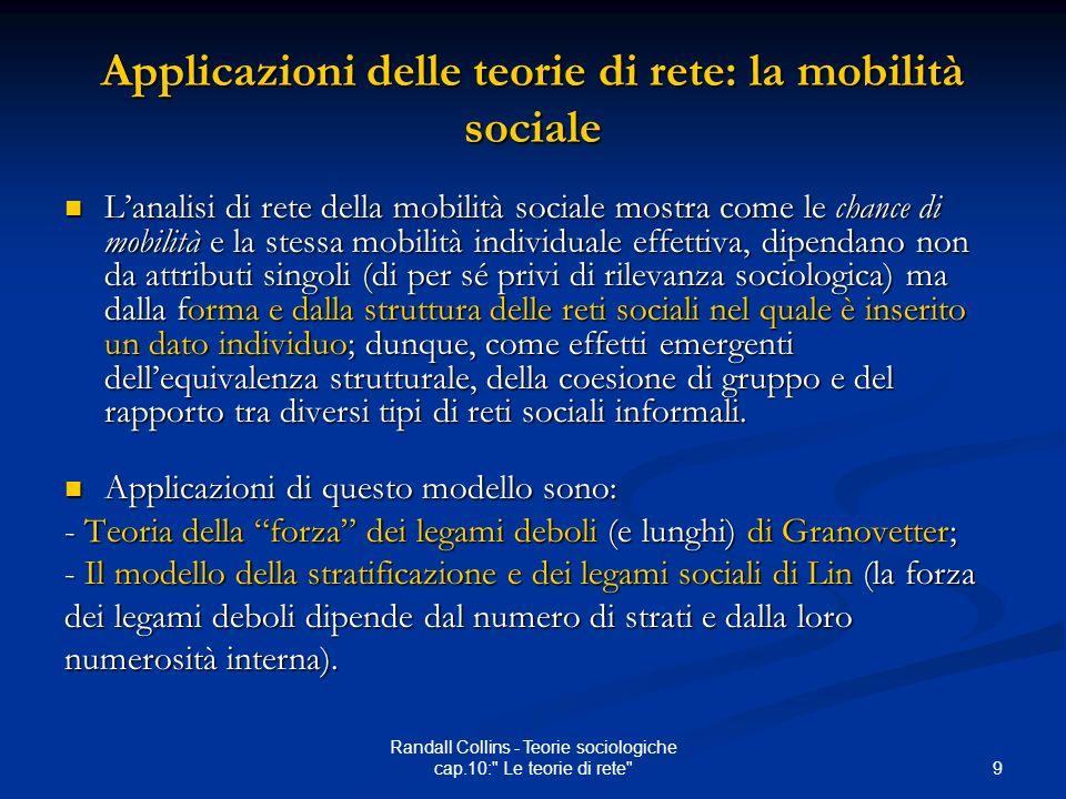 Applicazioni delle teorie di rete: la mobilità sociale