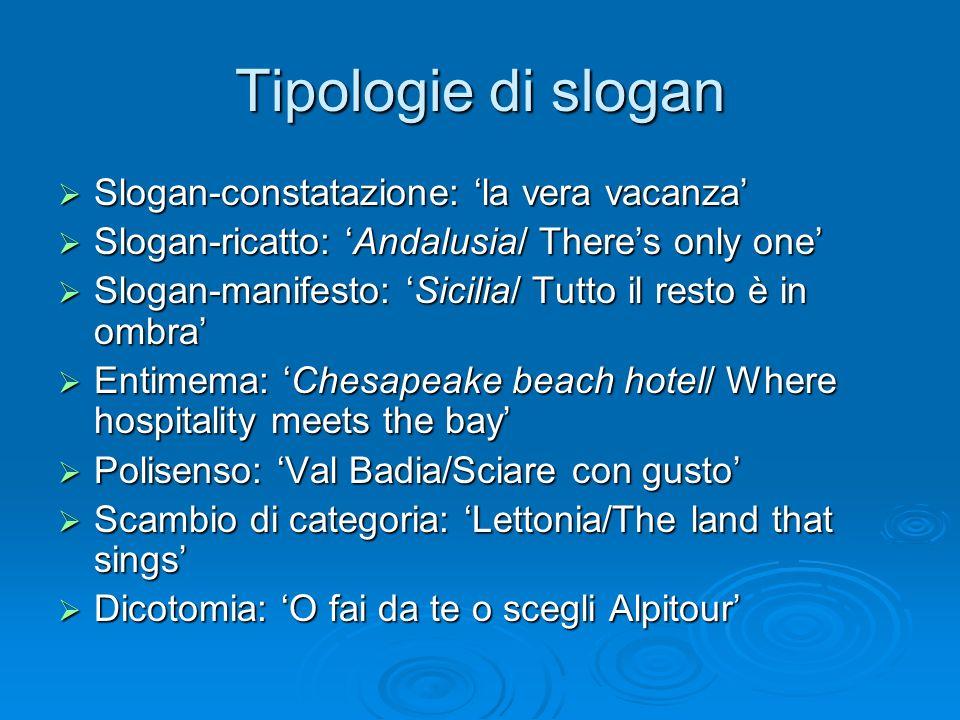 Tipologie di slogan Slogan-constatazione: 'la vera vacanza'