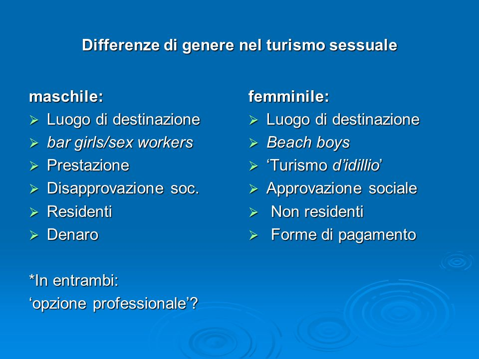 Differenze di genere nel turismo sessuale
