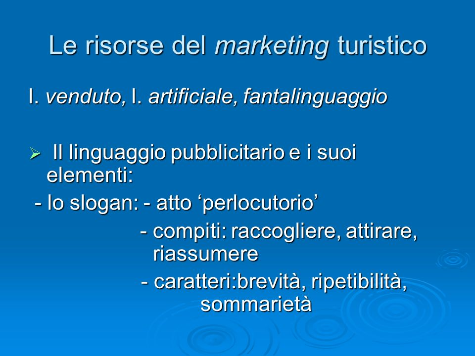 Le risorse del marketing turistico