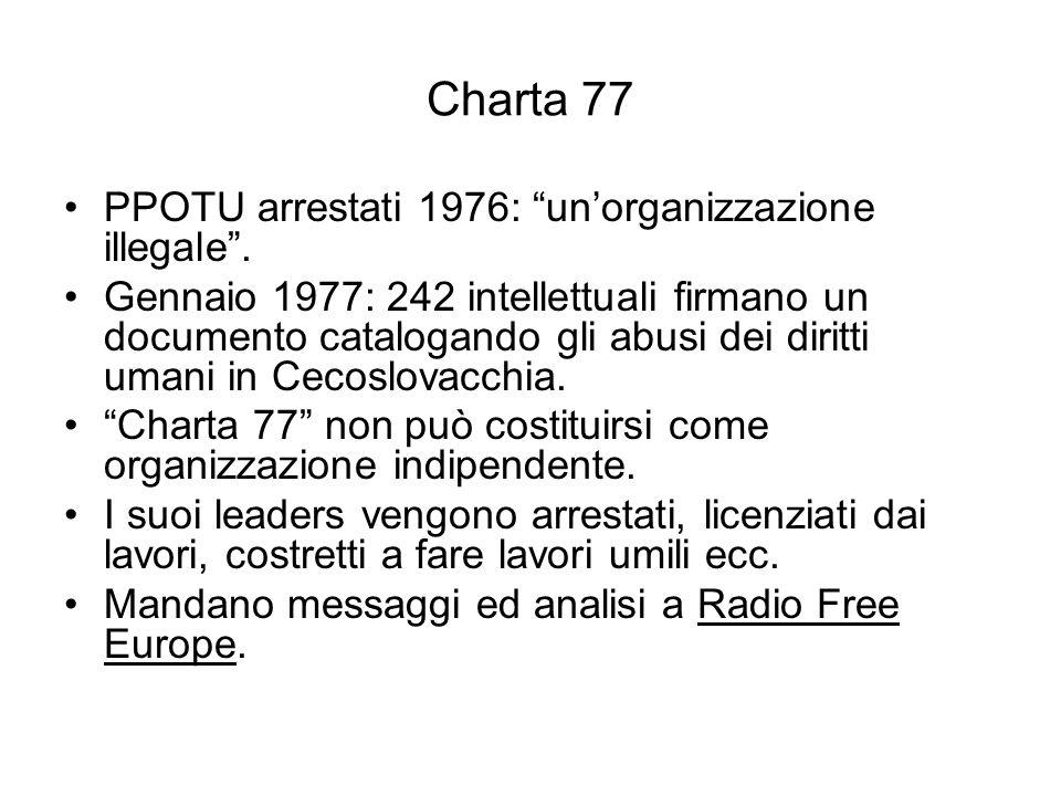 Charta 77 PPOTU arrestati 1976: un'organizzazione illegale .
