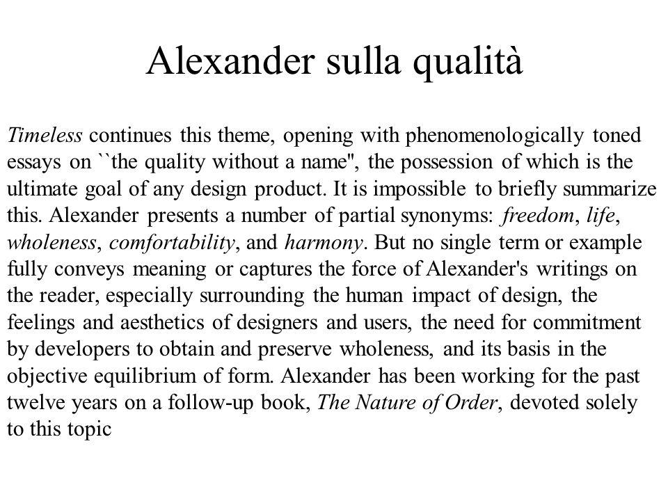 Alexander sulla qualità