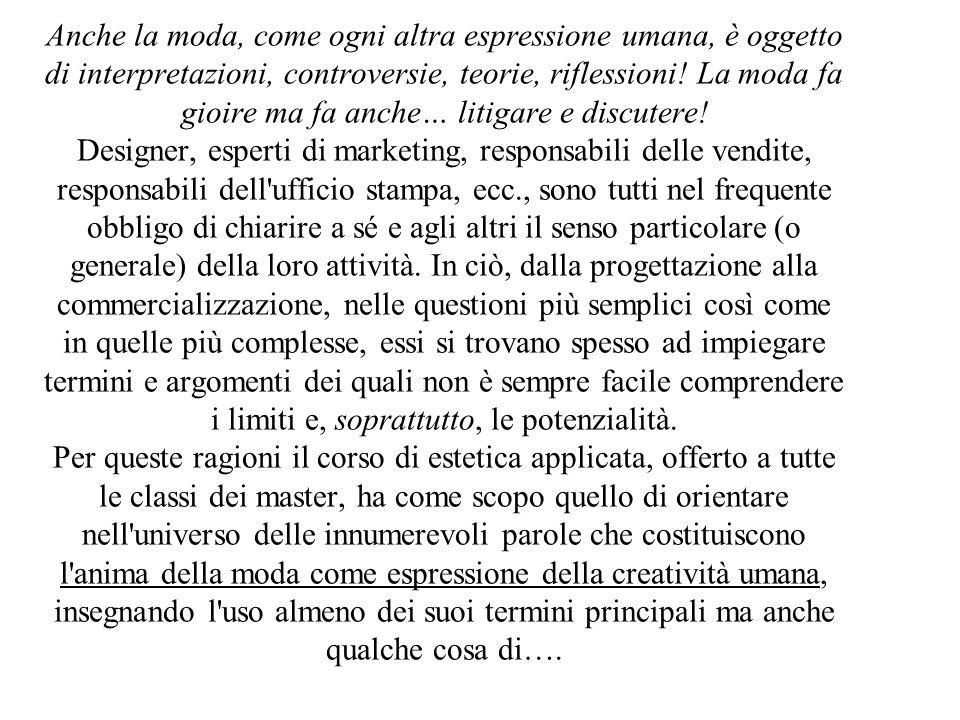 Anche la moda, come ogni altra espressione umana, è oggetto di interpretazioni, controversie, teorie, riflessioni.