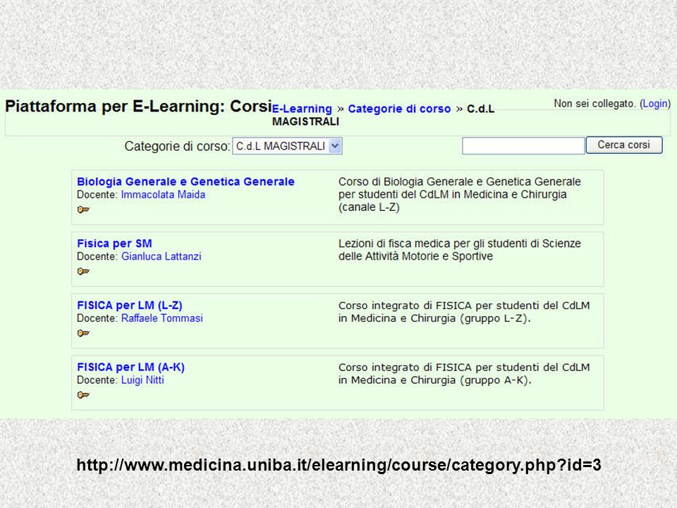 http://www.medicina.uniba.it/elearning/course/category.php id=3