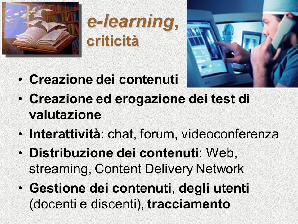 e-learning, criticità Creazione dei contenuti