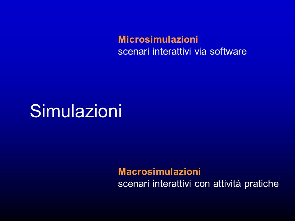 Simulazioni Microsimulazioni scenari interattivi via software