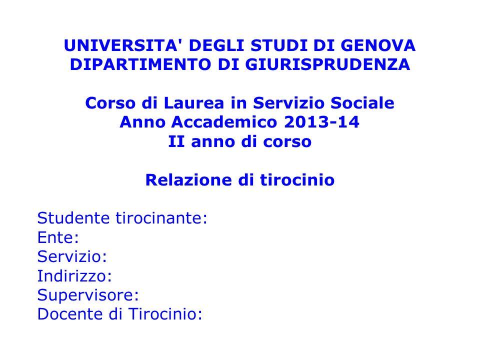 UNIVERSITA DEGLI STUDI DI GENOVA DIPARTIMENTO DI GIURISPRUDENZA
