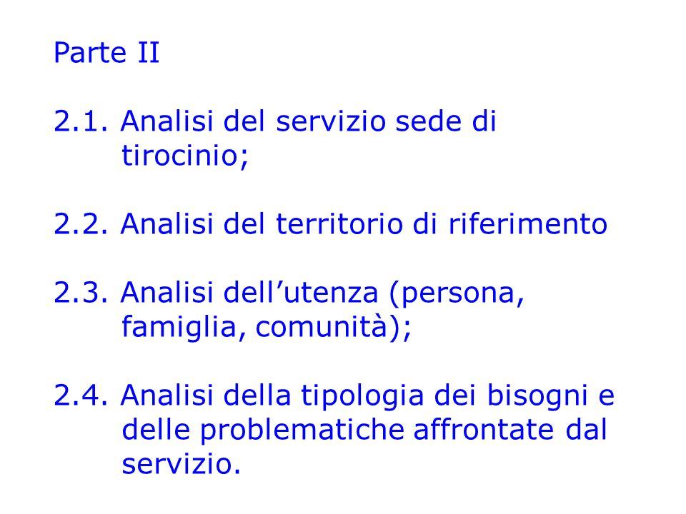 Parte II 2.1. Analisi del servizio sede di tirocinio; 2.2. Analisi del territorio di riferimento.