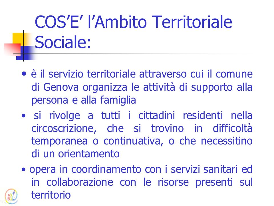 COS'E' l'Ambito Territoriale Sociale: