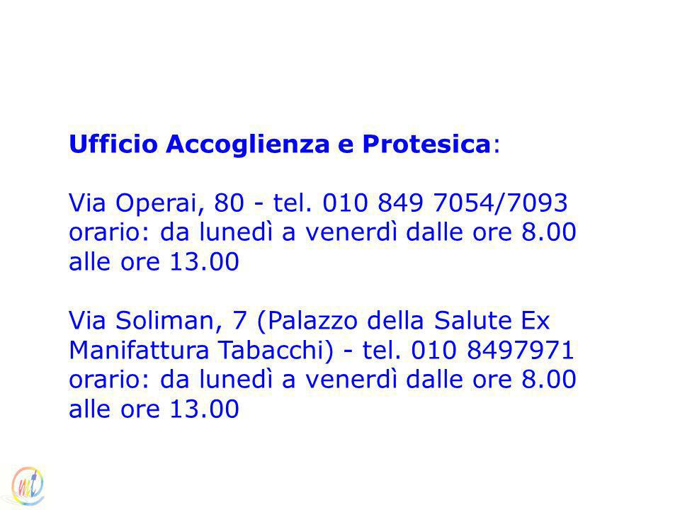 Ufficio Accoglienza e Protesica: