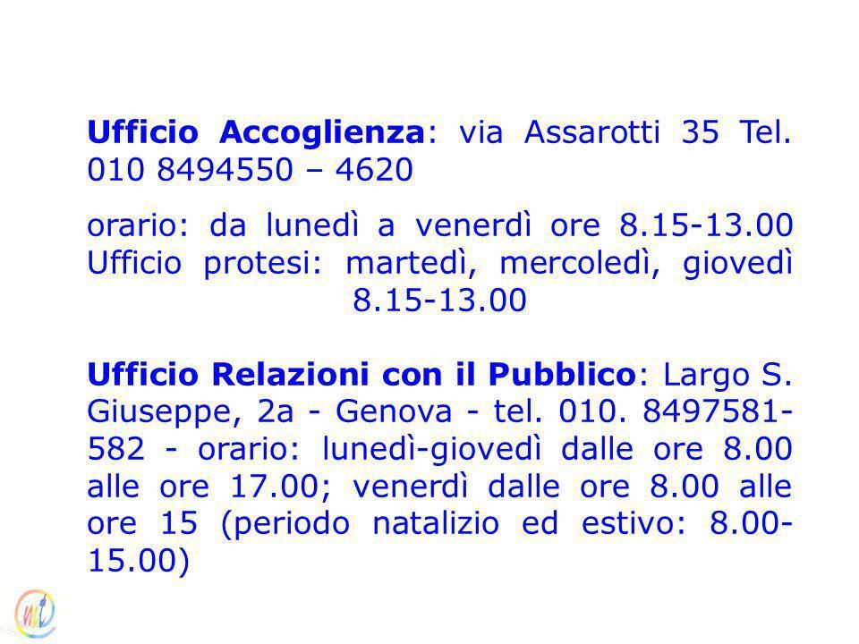 Ufficio Accoglienza: via Assarotti 35 Tel. 010 8494550 – 4620